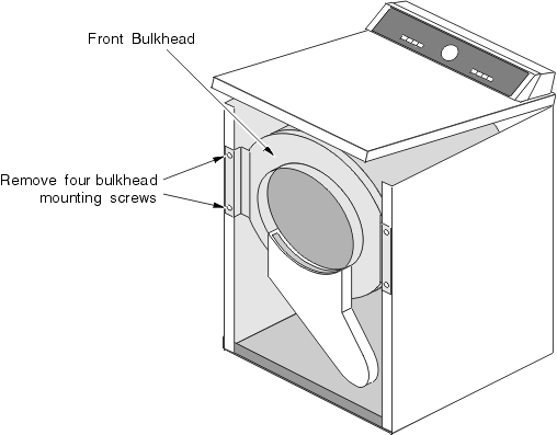 Front Bulkhead on an Amana Speed Queen Clothes Dryer