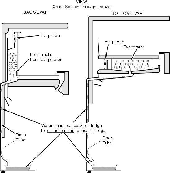 Typical Refrigerator Top-Freezer Defrost Drain System