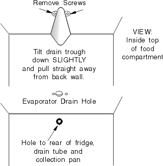 Removable Refrigerator Defrost Drain Trough (Certain Top-Freezer Bottom-Evap Models Only)