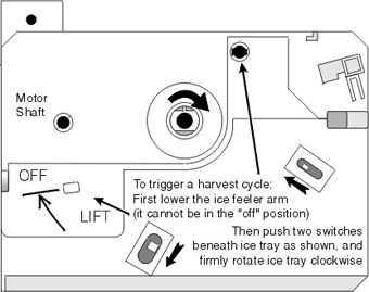 Admiral Refrigerator Icemaker - Initiating a Harvest Cycle