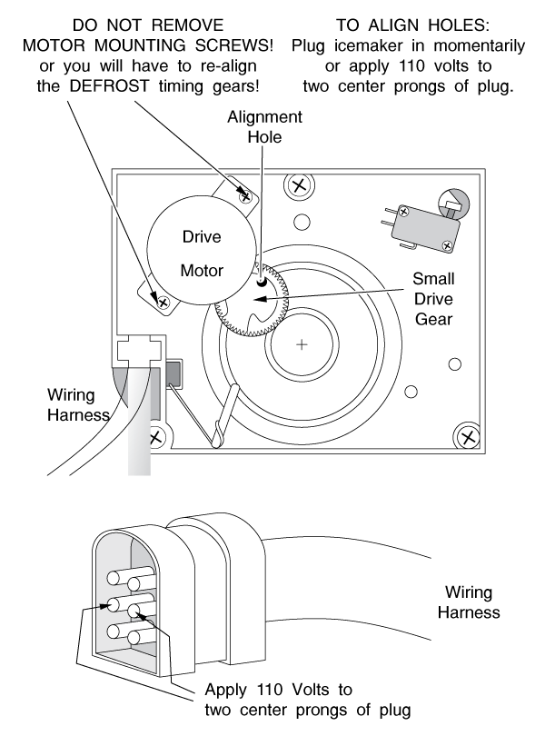 Aligning and Installing the Refrigerator Small Drive Gear